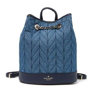 Kate Spade Quilted Denim Bucket Backpack NWT